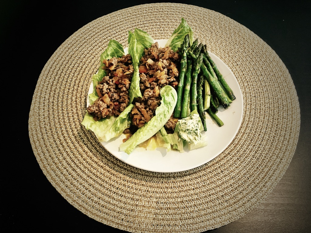 Juicy beef with sauté asparagus