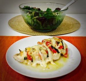 Chicken breast with mozzarella and basil